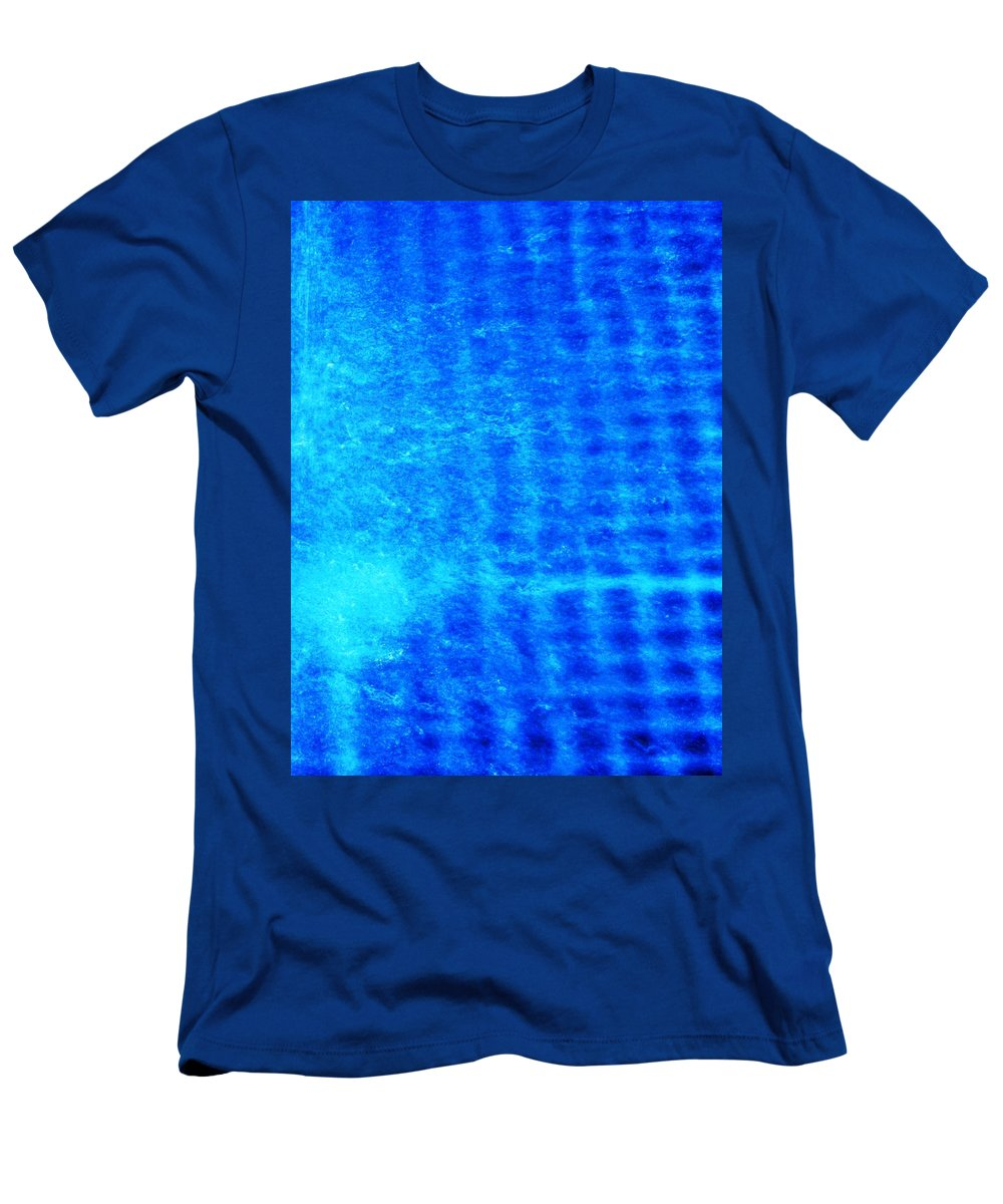 Abstract Men's T-Shirt (Athletic Fit) featuring the photograph Blue Water Grid Abstract by Eric Schiabor