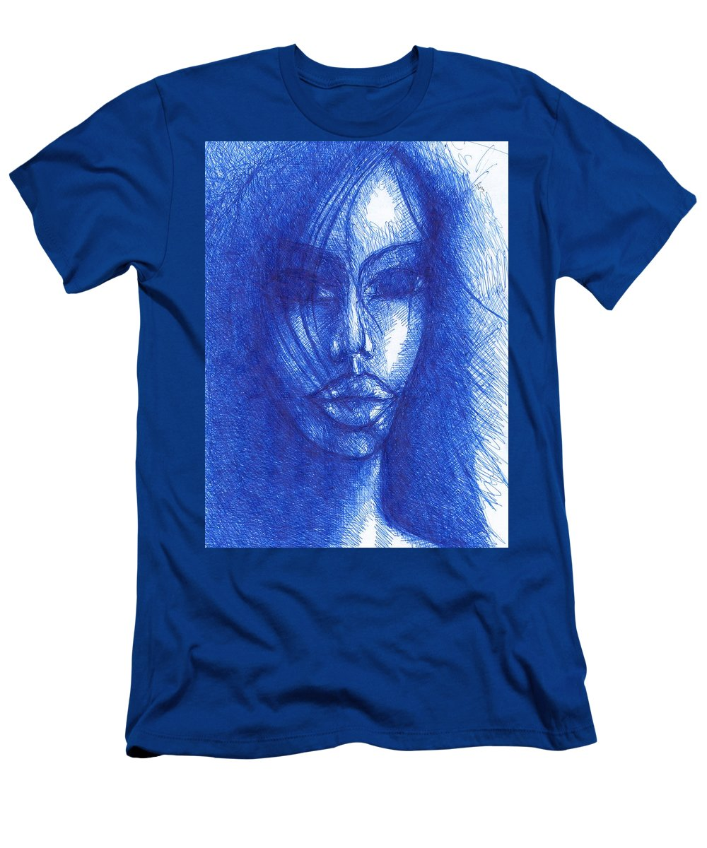 Psychedelic Men's T-Shirt (Athletic Fit) featuring the drawing Blue by Wojtek Kowalski