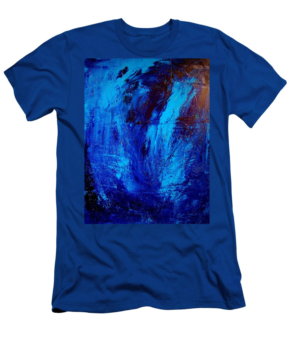 Impressionist Framed Prints Men's T-Shirt (Athletic Fit) featuring the mixed media Blue Yoga by Mark Kazav