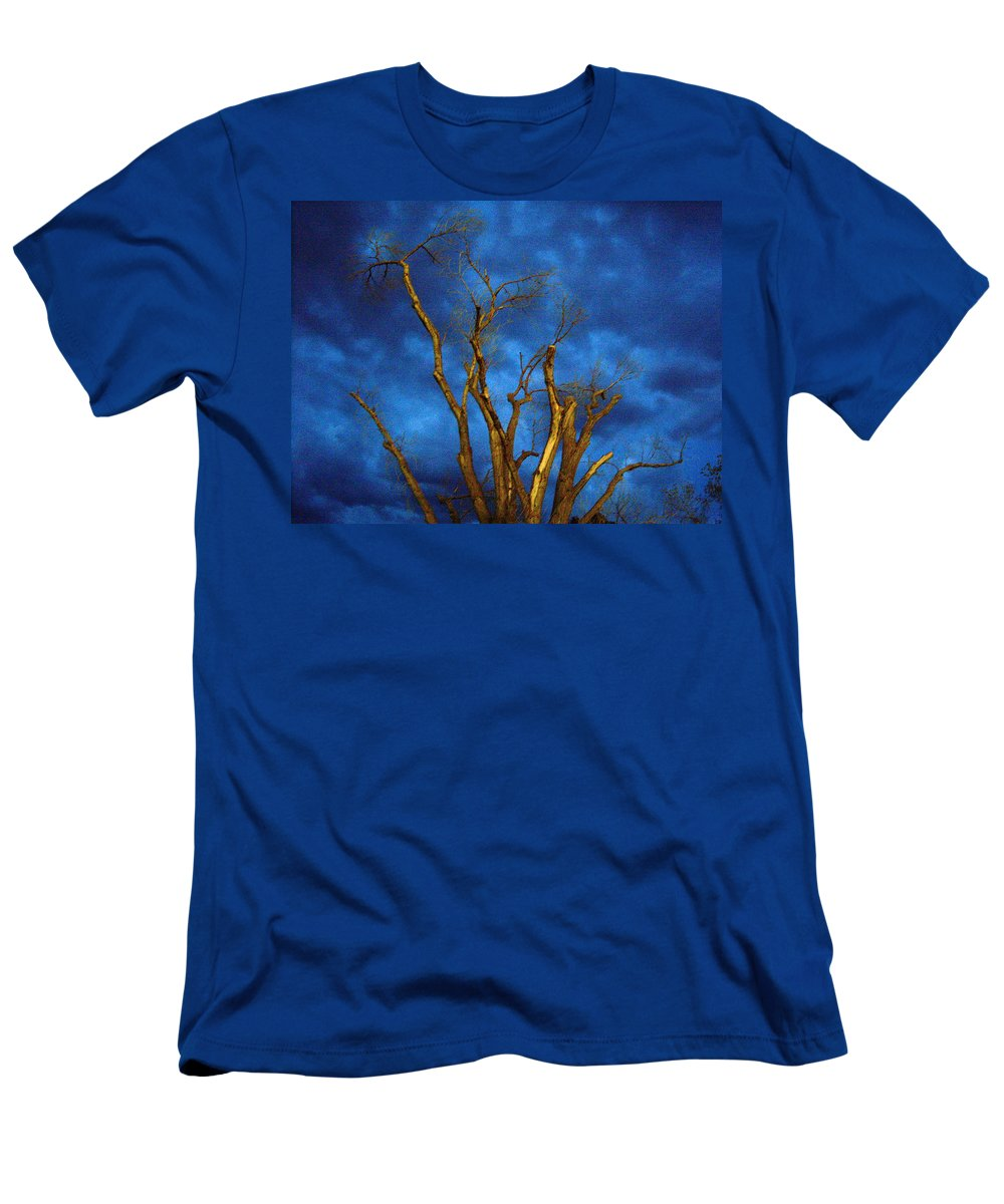 Blue Men's T-Shirt (Athletic Fit) featuring the photograph Branches Against Night Sky H by Heather Kirk
