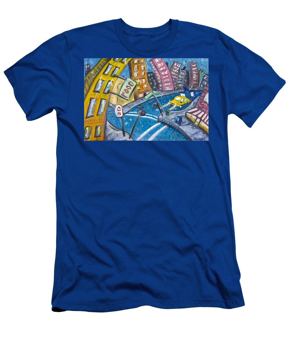 New York City Manhattan Brooklyn Men's T-Shirt (Athletic Fit) featuring the painting Brooklyn by Jason Gluskin