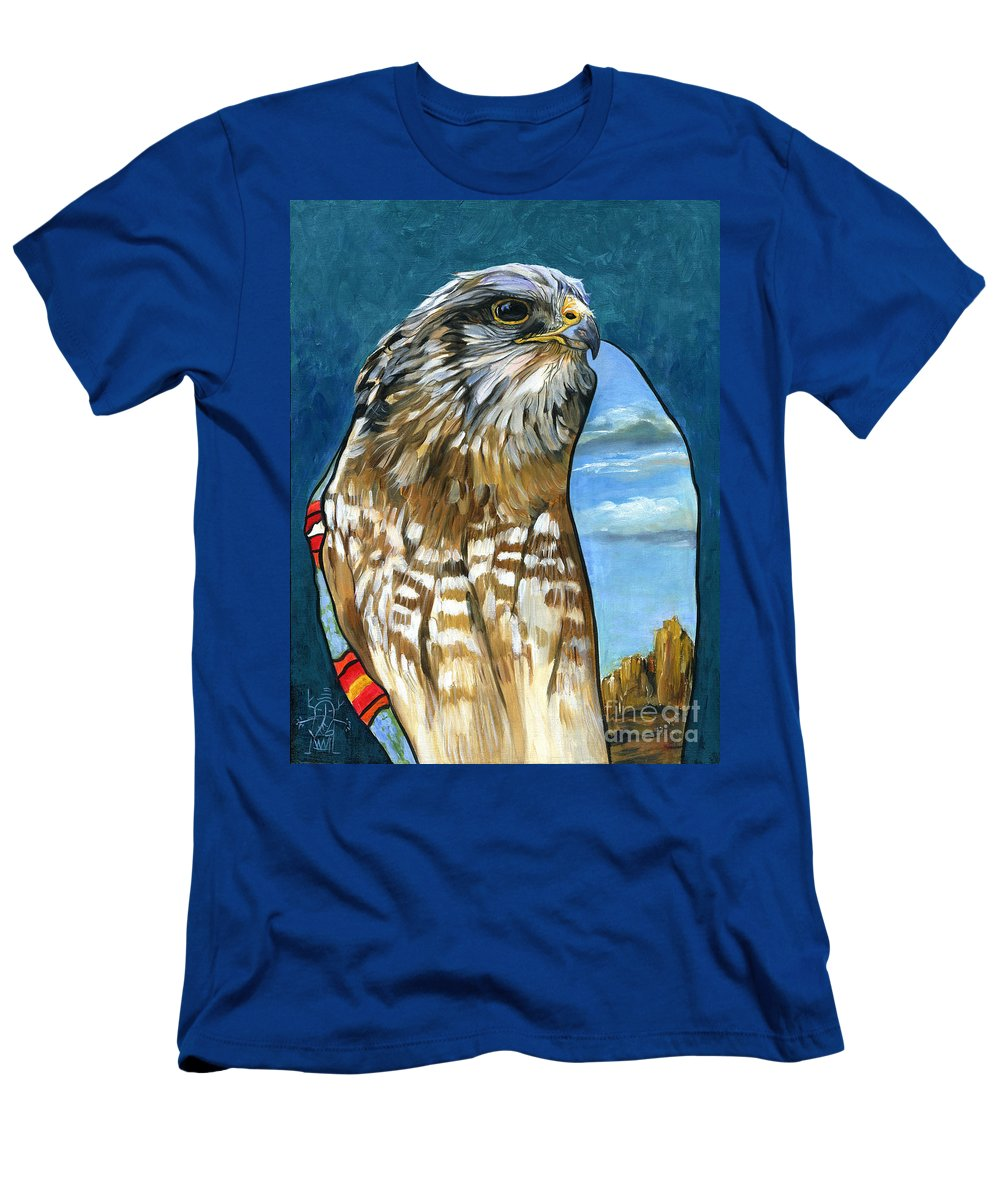 Hawk Men's T-Shirt (Athletic Fit) featuring the painting Brother Hawk by J W Baker