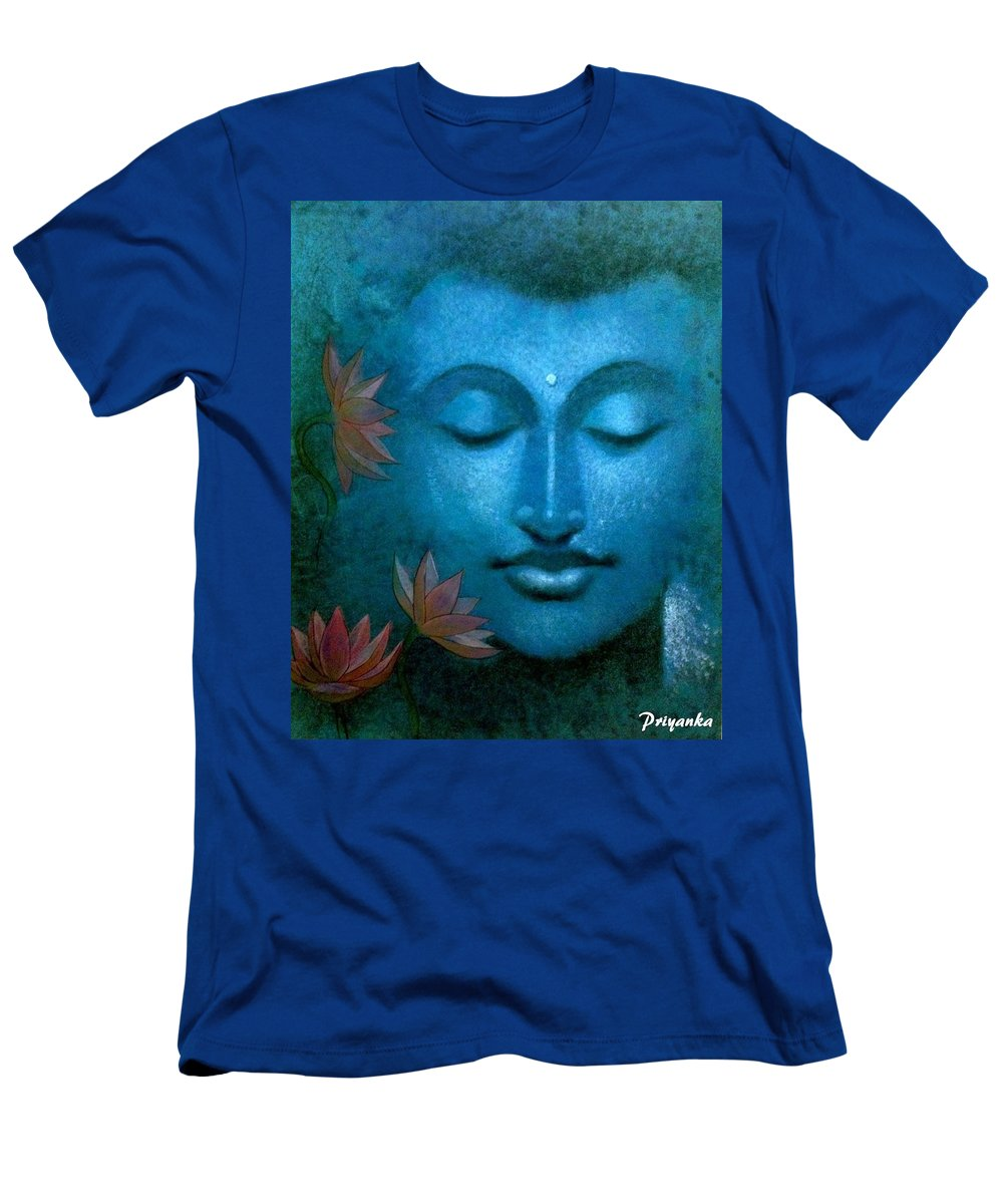 Portrait Men's T-Shirt (Athletic Fit) featuring the painting Buddha by Priyanka Ray