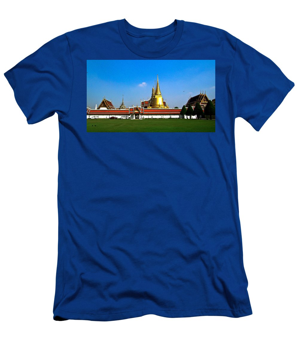 Buddha Men's T-Shirt (Athletic Fit) featuring the photograph Buddhaist Temple by Douglas Barnett