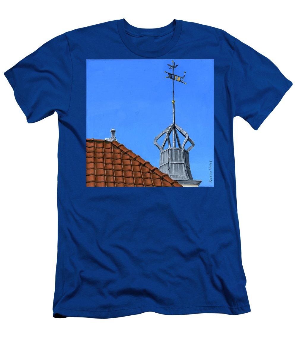 Architecture Men's T-Shirt (Athletic Fit) featuring the painting Bureau Of Tourism Amsterdam by Rob De Vries