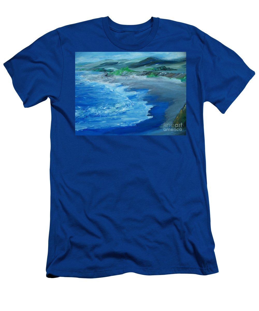 California Coast Men's T-Shirt (Athletic Fit) featuring the painting California Coastline Impressionism by Eric Schiabor