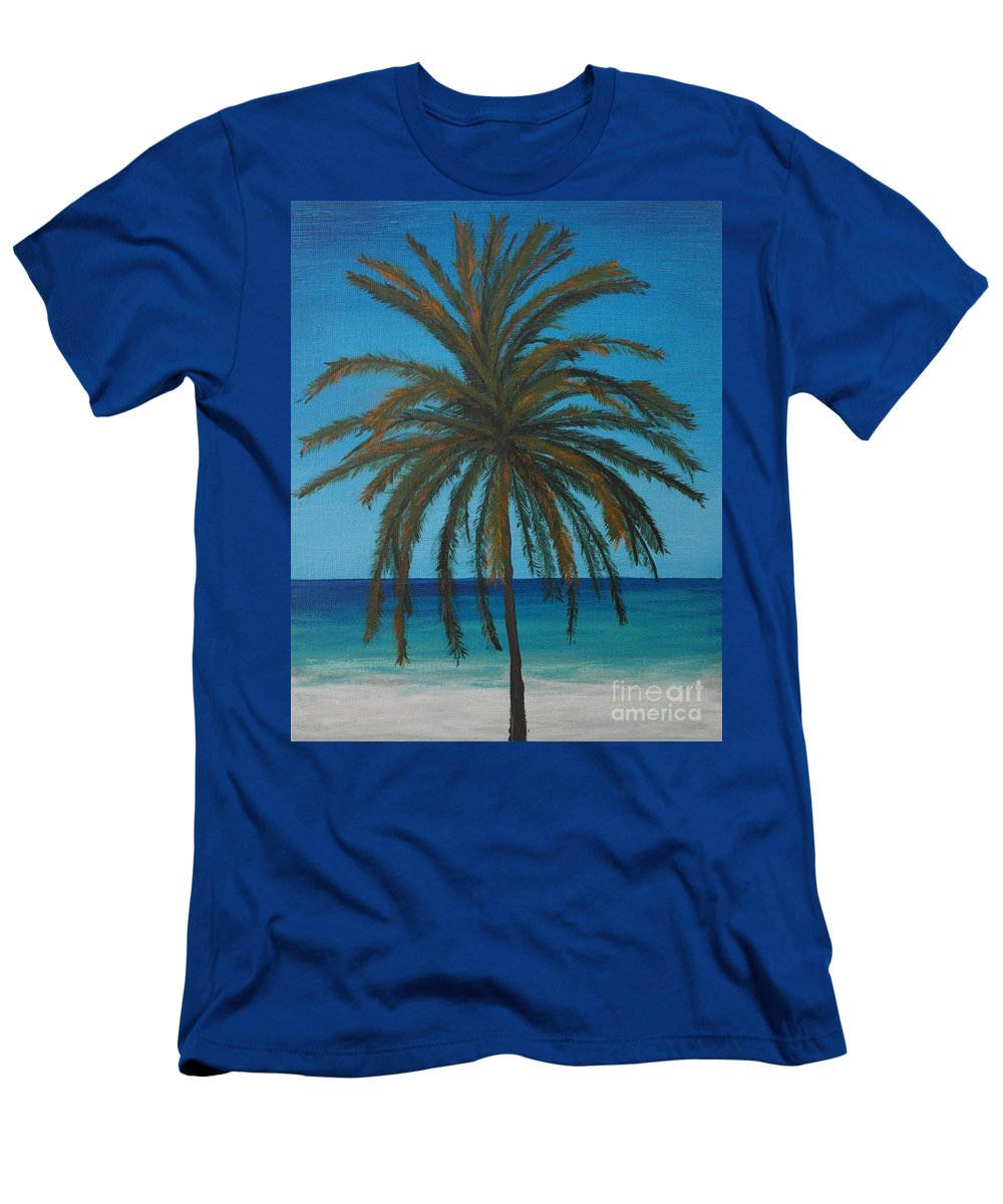 Acrylic Men's T-Shirt (Athletic Fit) featuring the painting Calm Palm by Wayne Cantrell