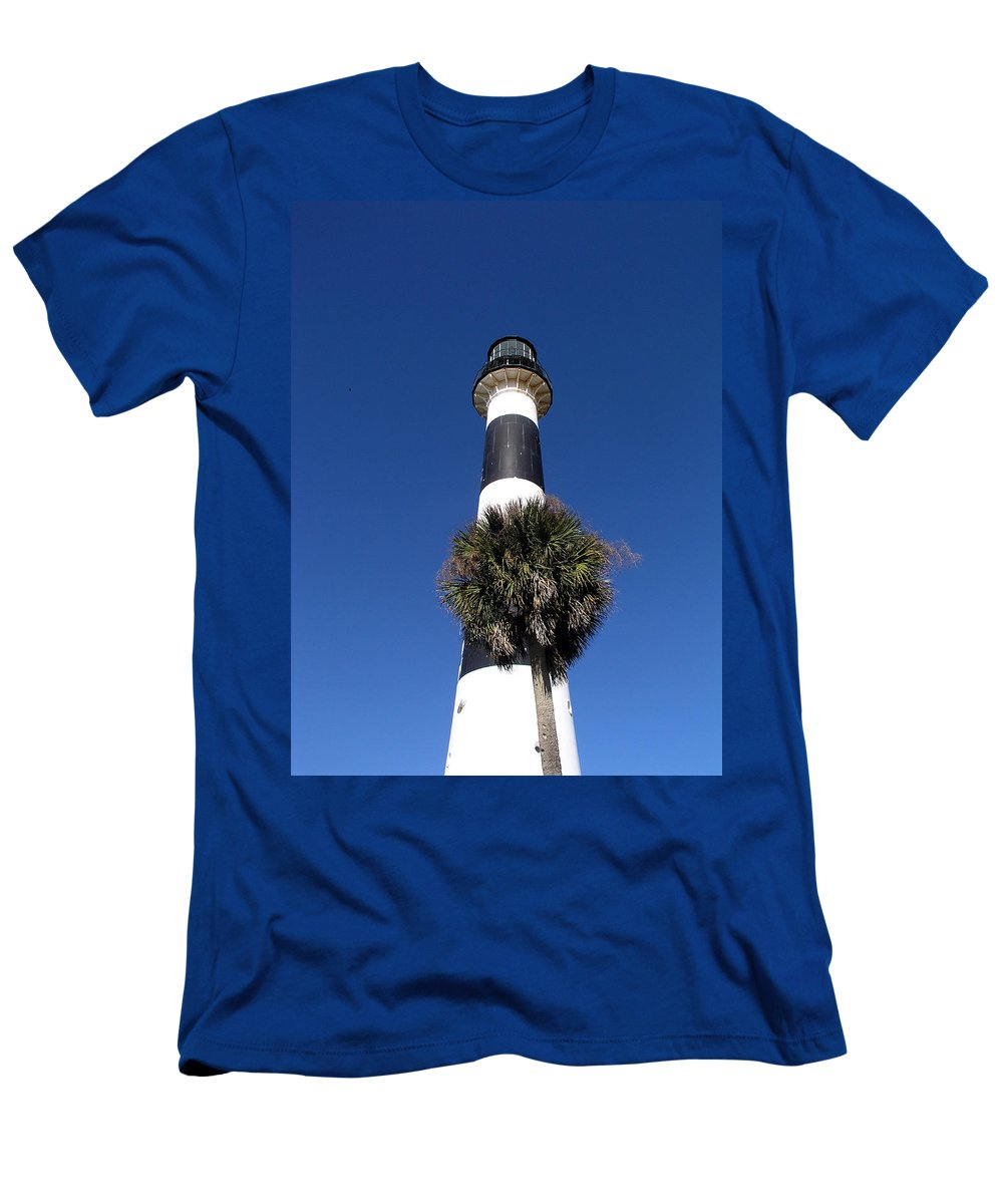 Cape; Canaveral; Light; Lighthouse; Lighthousekeeper; Keeper; Stairs; Kennedy; Space Center; Air For Men's T-Shirt (Athletic Fit) featuring the photograph Cape Canaveral Light On The Atlantic Coast Of Florida by Allan Hughes