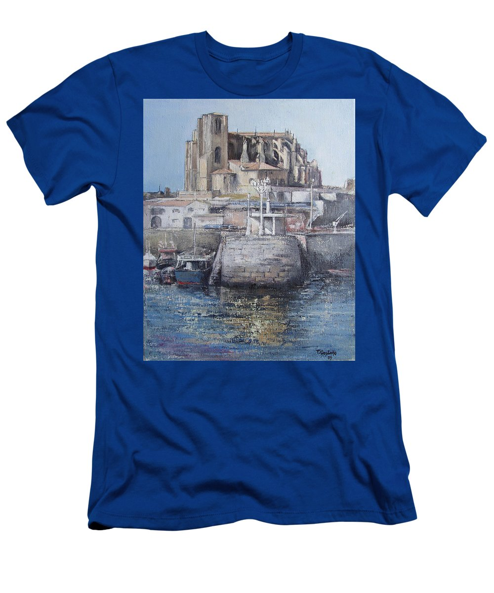 Castro T-Shirt featuring the painting Castro Urdiales by Tomas Castano
