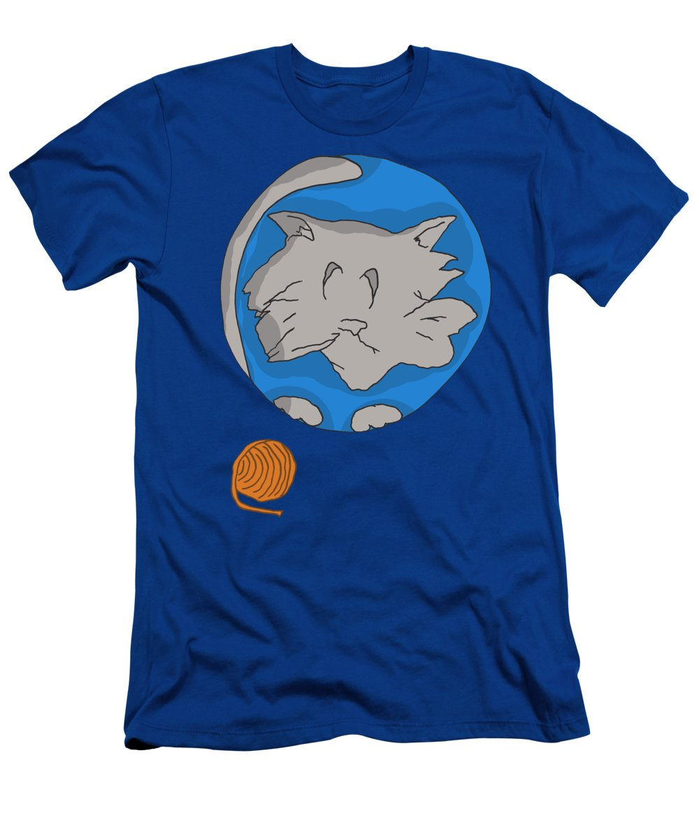 Kitty Cat Men's T-Shirt (Athletic Fit) featuring the drawing Cat Planet by Brian Cattapan