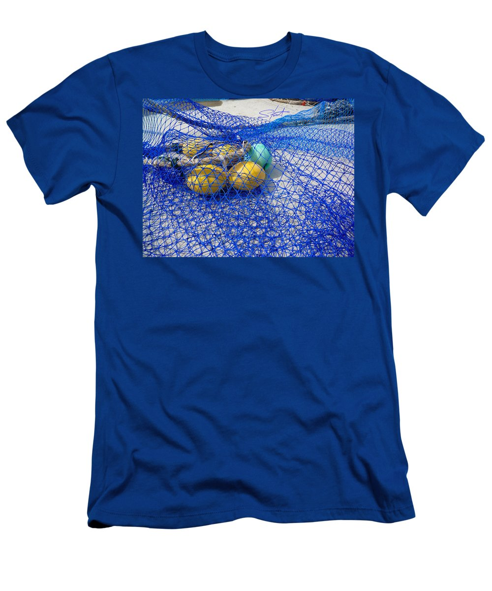 Fishing Net Men's T-Shirt (Athletic Fit) featuring the photograph Caught by Charles Stuart