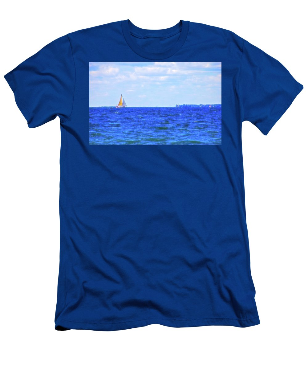 Sail Men's T-Shirt (Athletic Fit) featuring the photograph Celestial Skies Sailing The Blue by Aimee L Maher ALM GALLERY