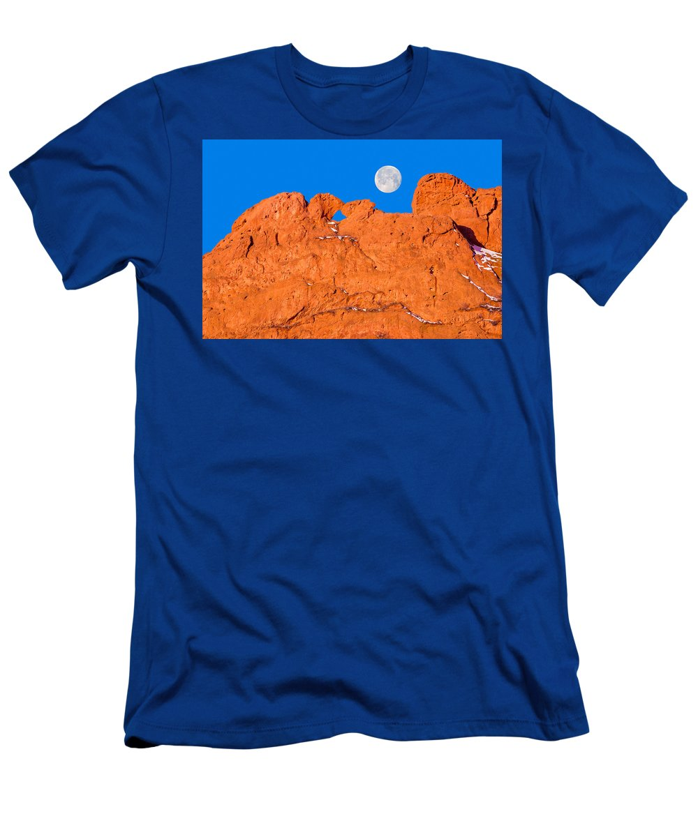 The Kissing Camels Rock Formation Men's T-Shirt (Athletic Fit) featuring the photograph Chang-o, The Chinese Moon Goddess by Bijan Pirnia