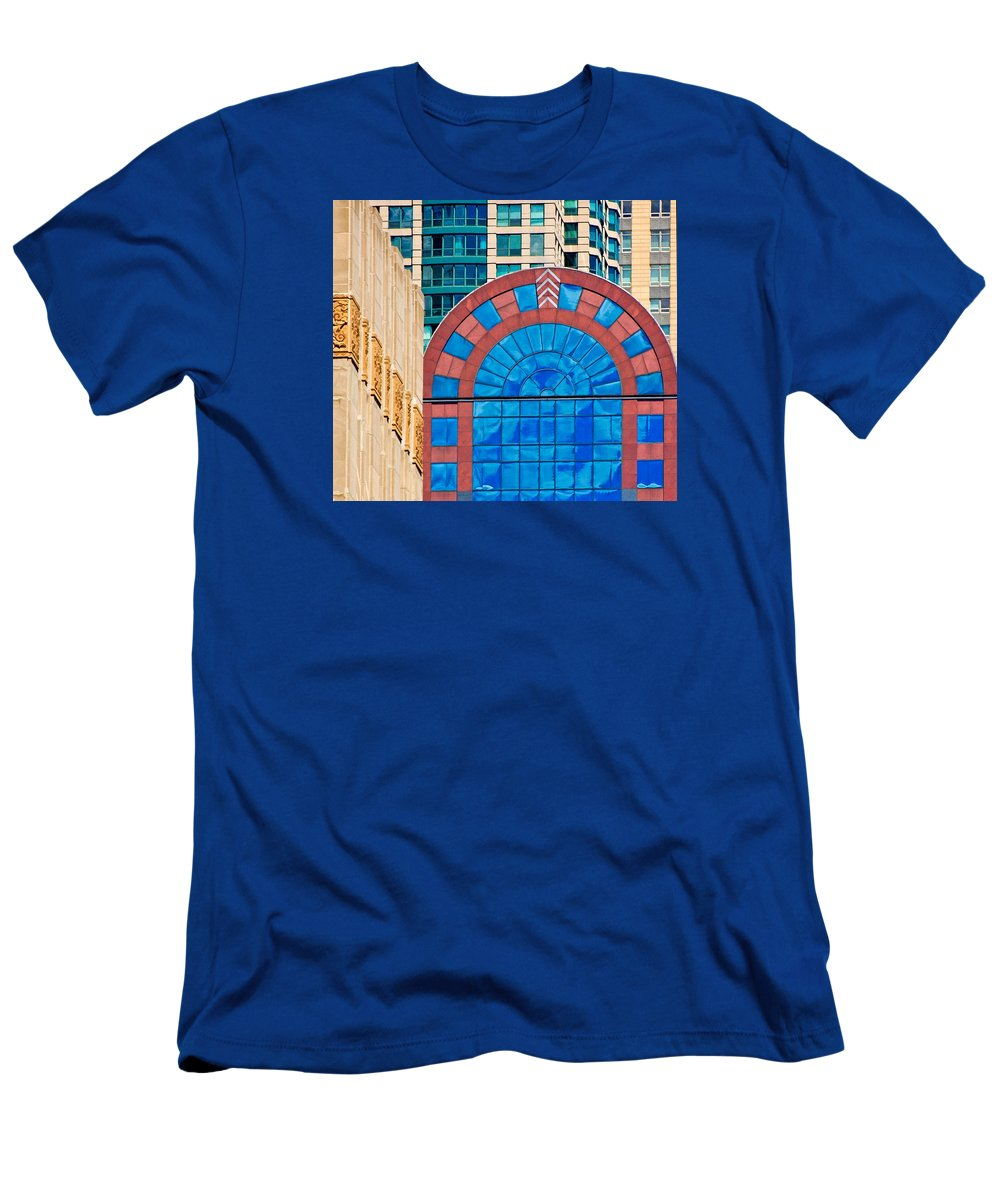 Chicago Architecture Men's T-Shirt (Athletic Fit) featuring the photograph Chicago Place On N. Michigan Ave by Ginger Wakem