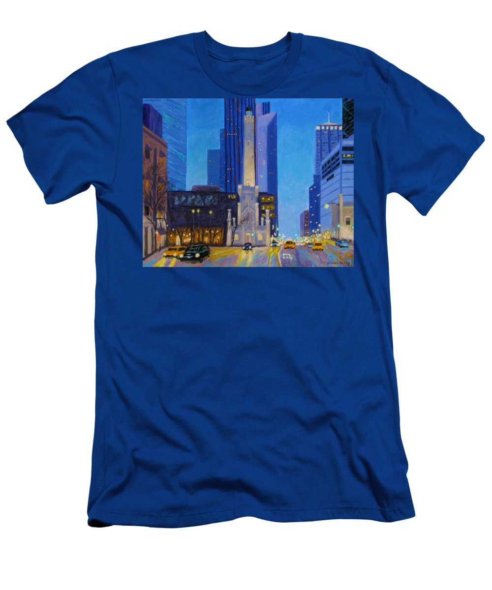 Chicago Art Men's T-Shirt (Athletic Fit) featuring the painting Chicago's Water Tower At Dusk by J Loren Reedy