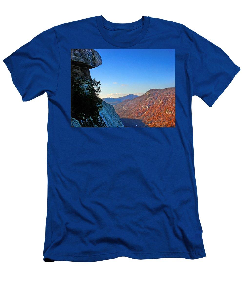 Landscape Men's T-Shirt (Athletic Fit) featuring the photograph Chimney Rock 2 by Steve Karol