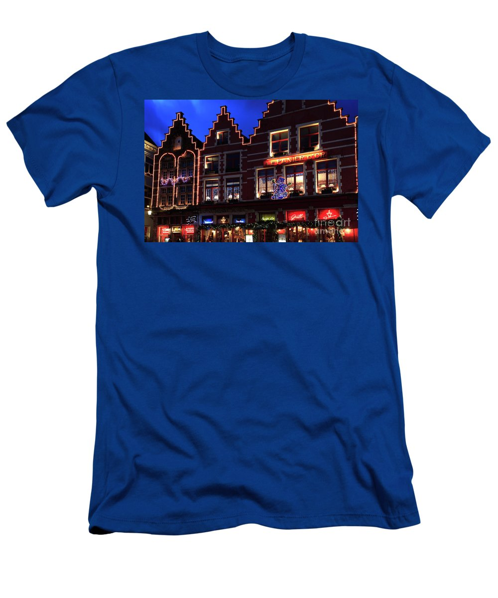 Christmas Decorations Men's T-Shirt (Athletic Fit) featuring the photograph Christmas Decorations On Buildings In Bruges City by Dave Porter