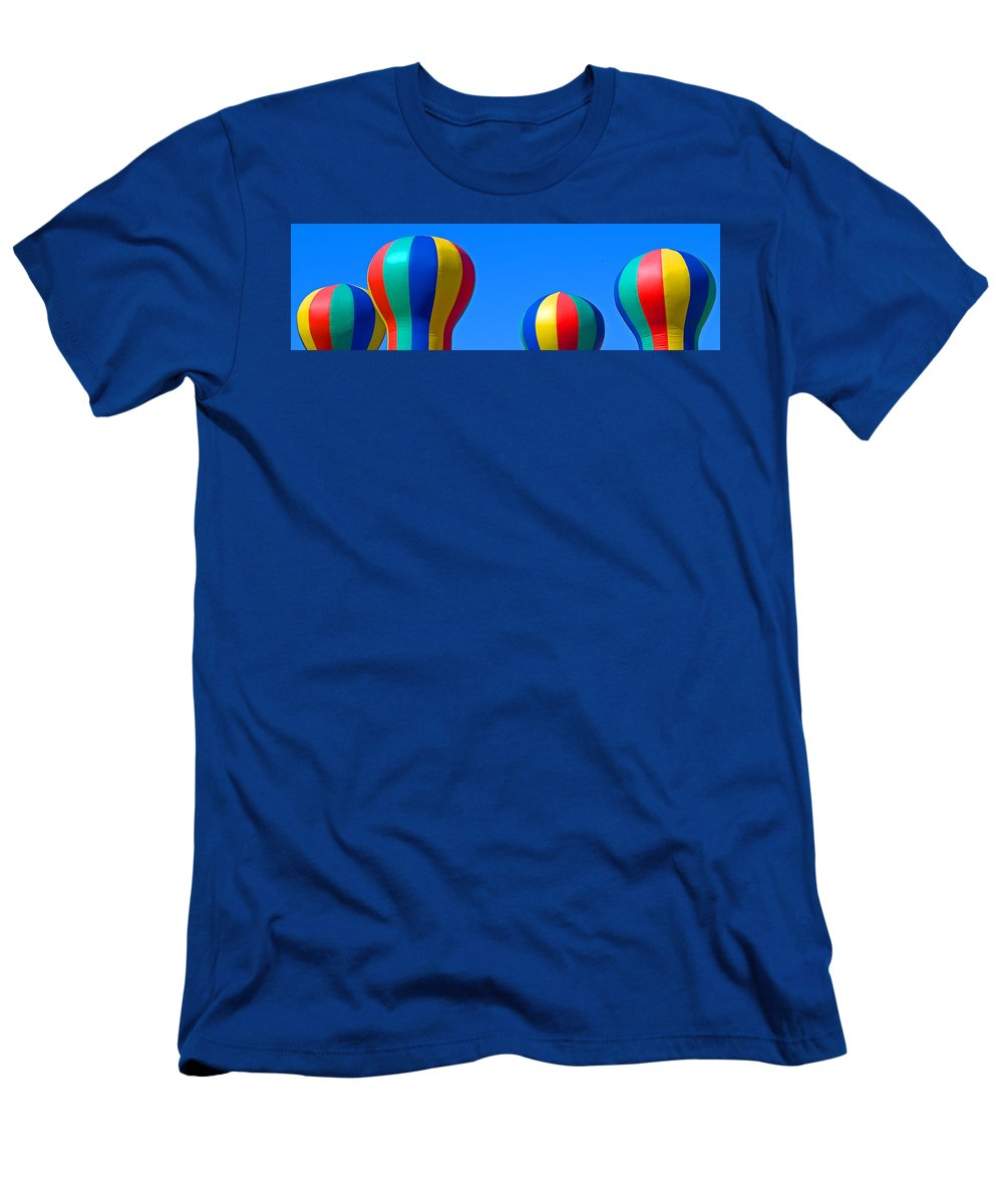 Red; Green; Yellow; Blue; Pillow; Sky; Circus; Carnival; Country; Fair; Ball; Balloon; Colors; Color Men's T-Shirt (Athletic Fit) featuring the photograph Circus In The Sky - One by Allan Hughes