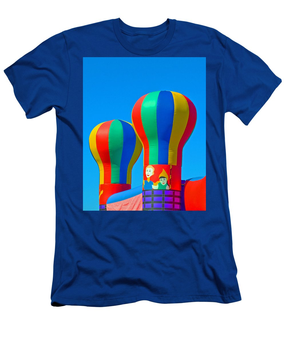 Pillow; Sky; Circus; Carnival; Country; Fair; Ball; Balloon; Colors; Colorful; Bounce; House; Castle Men's T-Shirt (Athletic Fit) featuring the photograph Circus In The Sky - Three by Allan Hughes