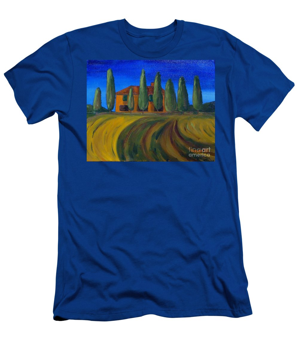 Tuscany Men's T-Shirt (Athletic Fit) featuring the painting Classic Tuscan Sunset by Laurie Morgan