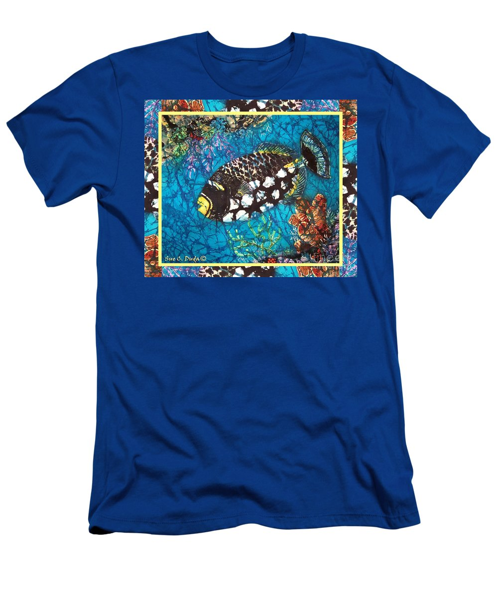 Batik Men's T-Shirt (Athletic Fit) featuring the painting Clown Triggerfish-bordered by Sue Duda