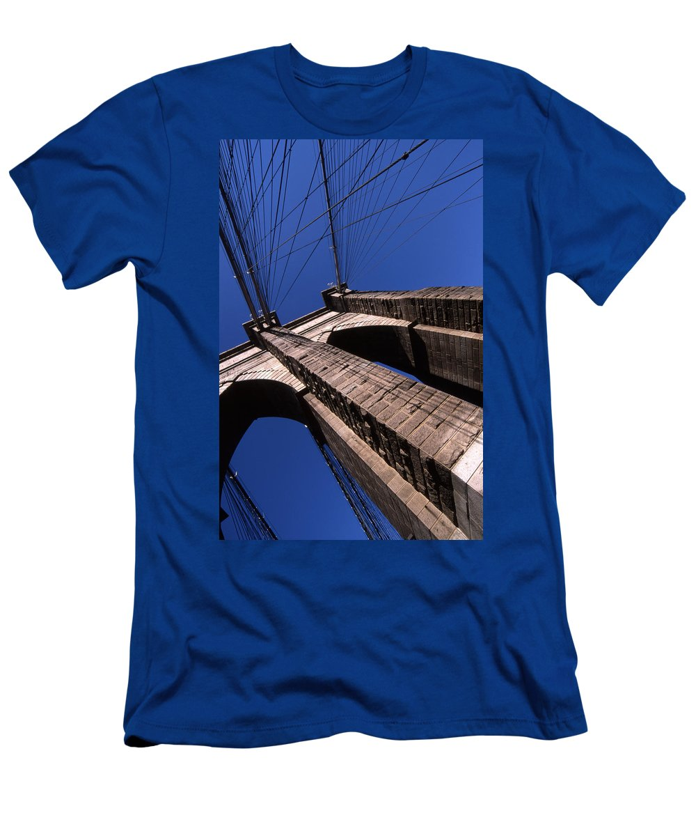 Landscape Brooklyn Bridge New York City Men's T-Shirt (Athletic Fit) featuring the photograph Cnrg0408 by Henry Butz