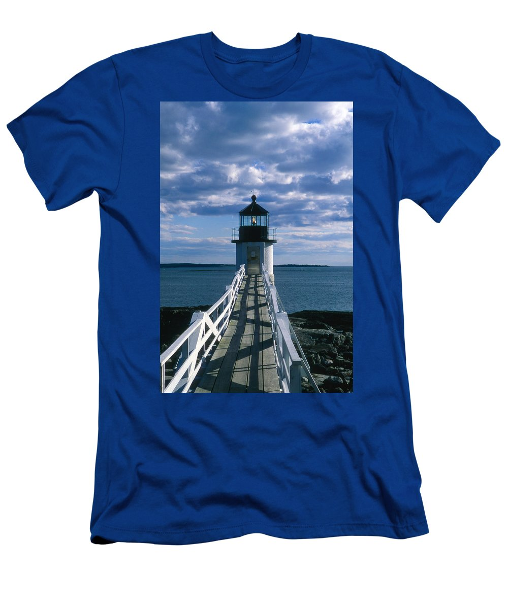 Landscape Lighthouse New England Marshall Point Light Port Clyde Men's T-Shirt (Athletic Fit) featuring the photograph Cnrh0603 by Henry Butz
