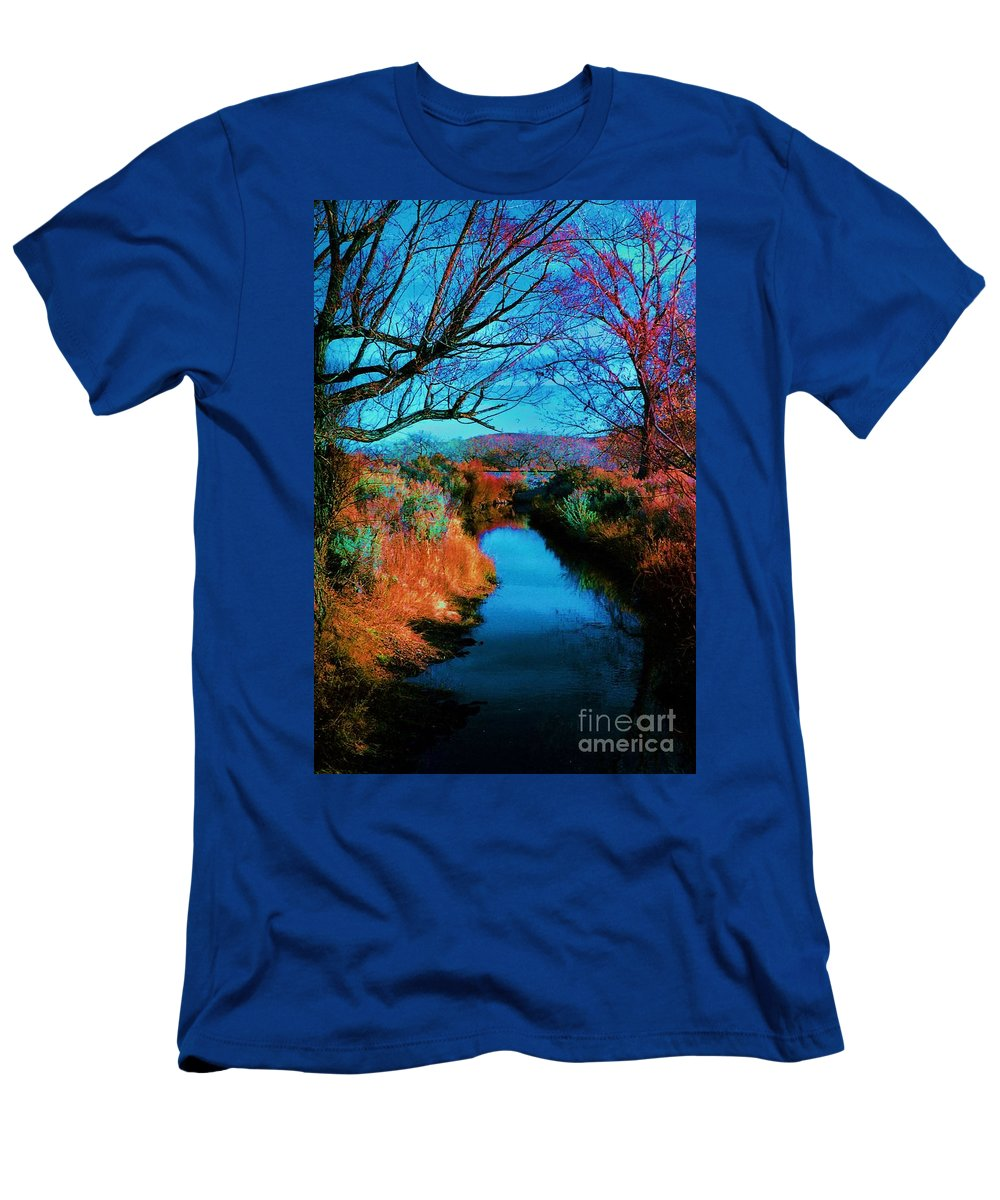 Color Men's T-Shirt (Athletic Fit) featuring the photograph Color Along The River by Diana Dearen