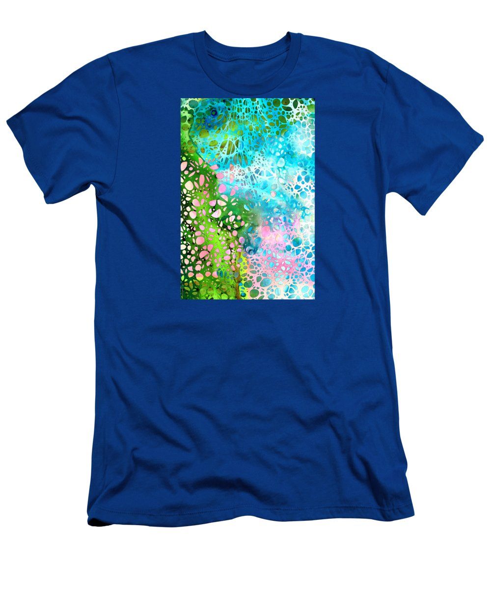 Abstract Men's T-Shirt (Athletic Fit) featuring the painting Colorful Art - Enchanting Spring - Sharon Cummings by Sharon Cummings