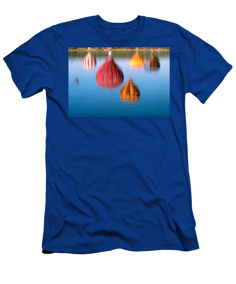 Hot Air Balloons Men's T-Shirt (Athletic Fit) featuring the photograph Colorful Reflections by Jerry McElroy