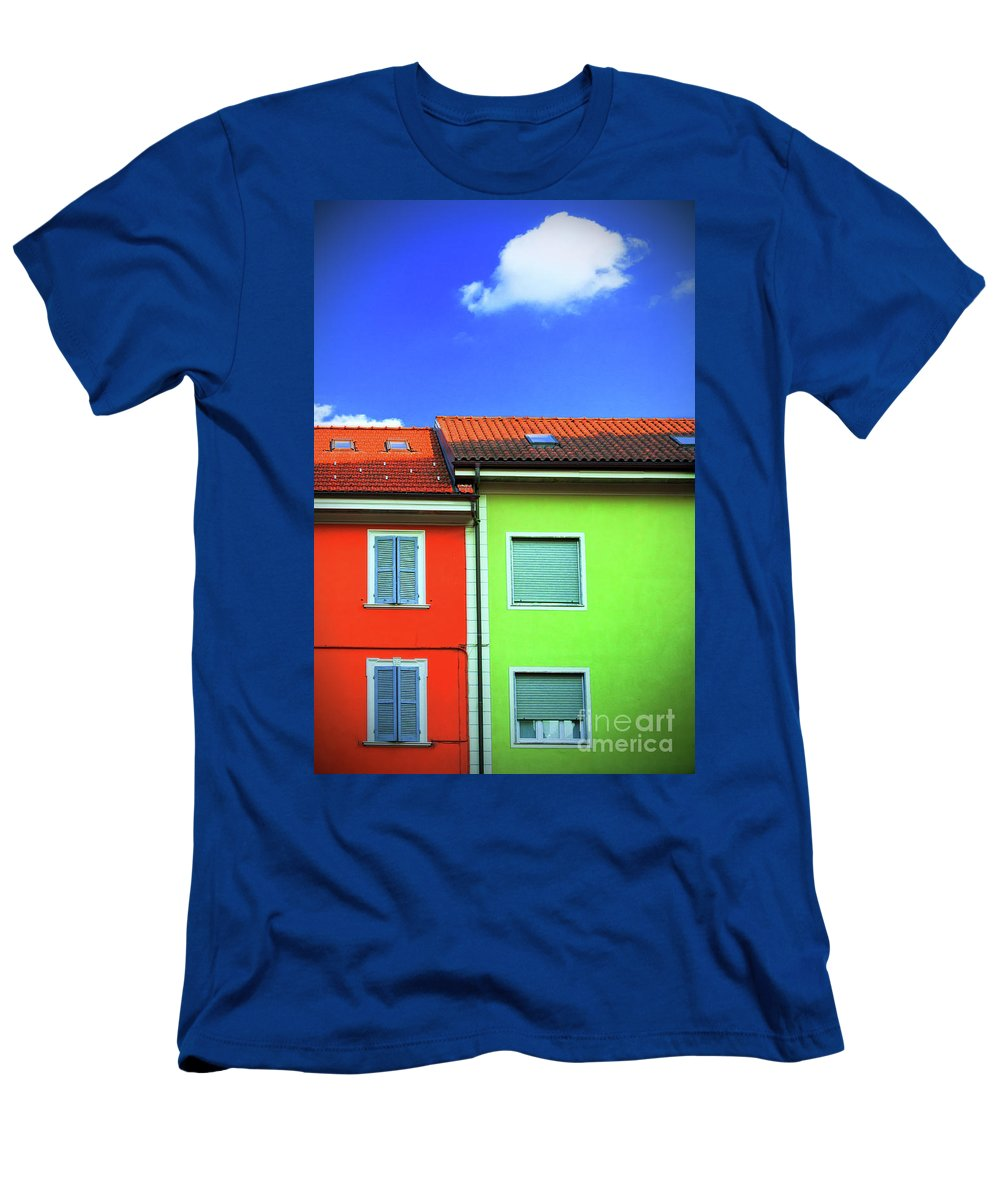 Wall Men's T-Shirt (Athletic Fit) featuring the photograph Colorful Walls And A Cloud by Silvia Ganora