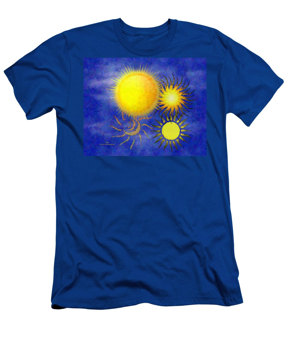 Sun Men's T-Shirt (Athletic Fit) featuring the digital art Combating Suns by Pamula Reeves-Barker