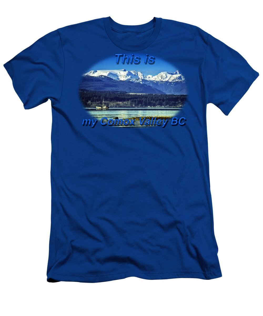 Comox Glacier Men's T-Shirt (Athletic Fit) featuring the digital art Comox Glacier And Herring Boat by Richard Farrington