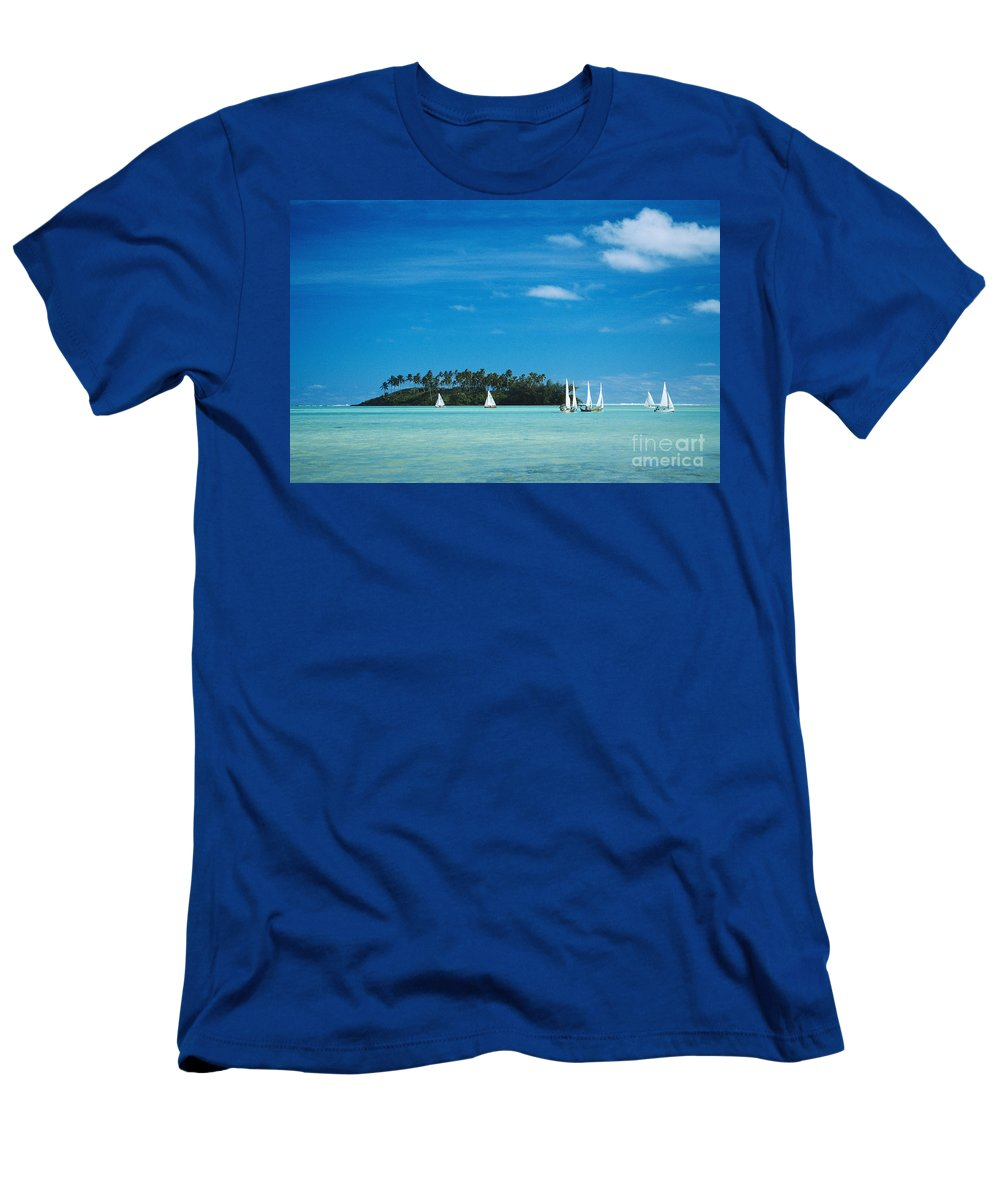 Atoll Men's T-Shirt (Athletic Fit) featuring the photograph Cook Islands, Rarotonga by Bob Abraham - Printscapes