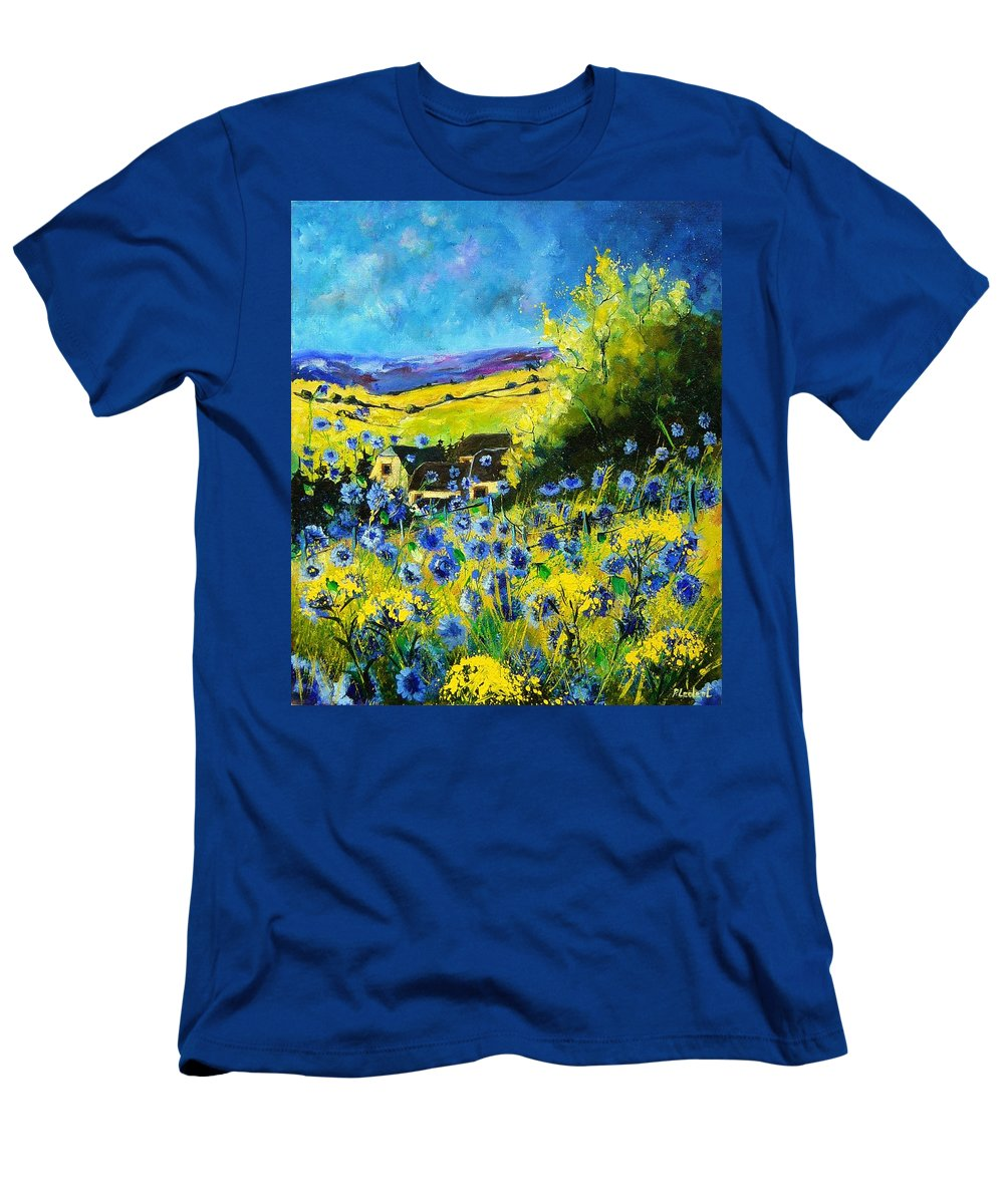 Flowers Men's T-Shirt (Athletic Fit) featuring the painting Cornflowers In Ver by Pol Ledent