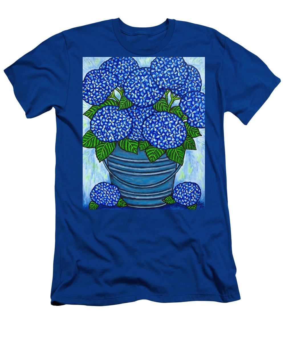 Blue Men's T-Shirt (Athletic Fit) featuring the painting Country Blues by Lisa Lorenz