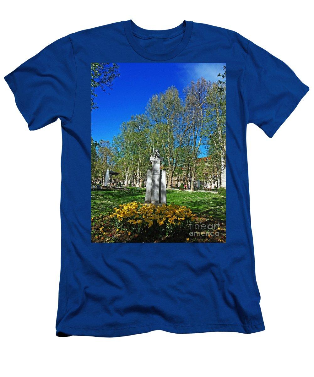 Zrinski Park Men's T-Shirt (Athletic Fit) featuring the photograph Croatian Giant - Ivan Mazuranic by Jasna Dragun