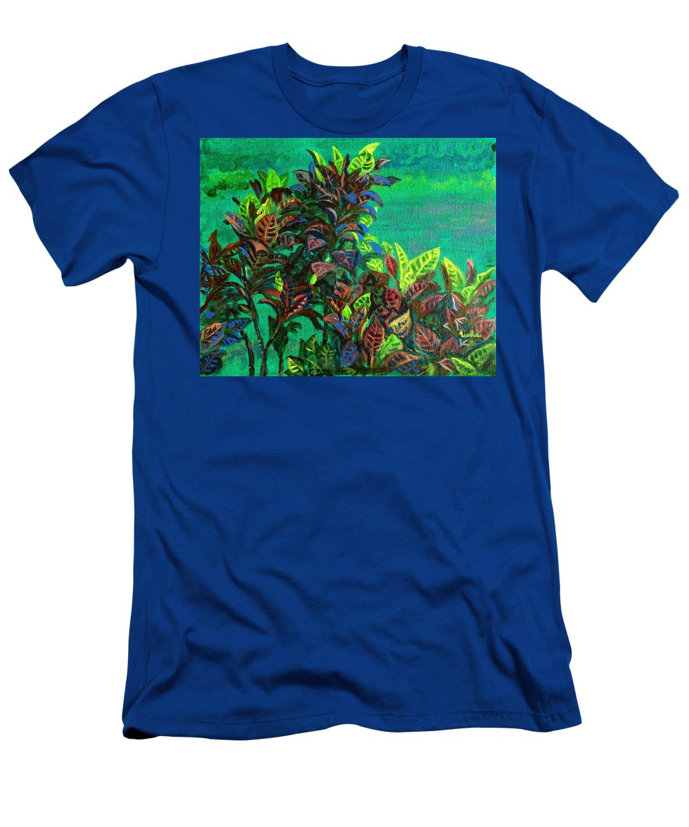 Crotons Men's T-Shirt (Athletic Fit) featuring the painting Crotons 7 by Usha Shantharam