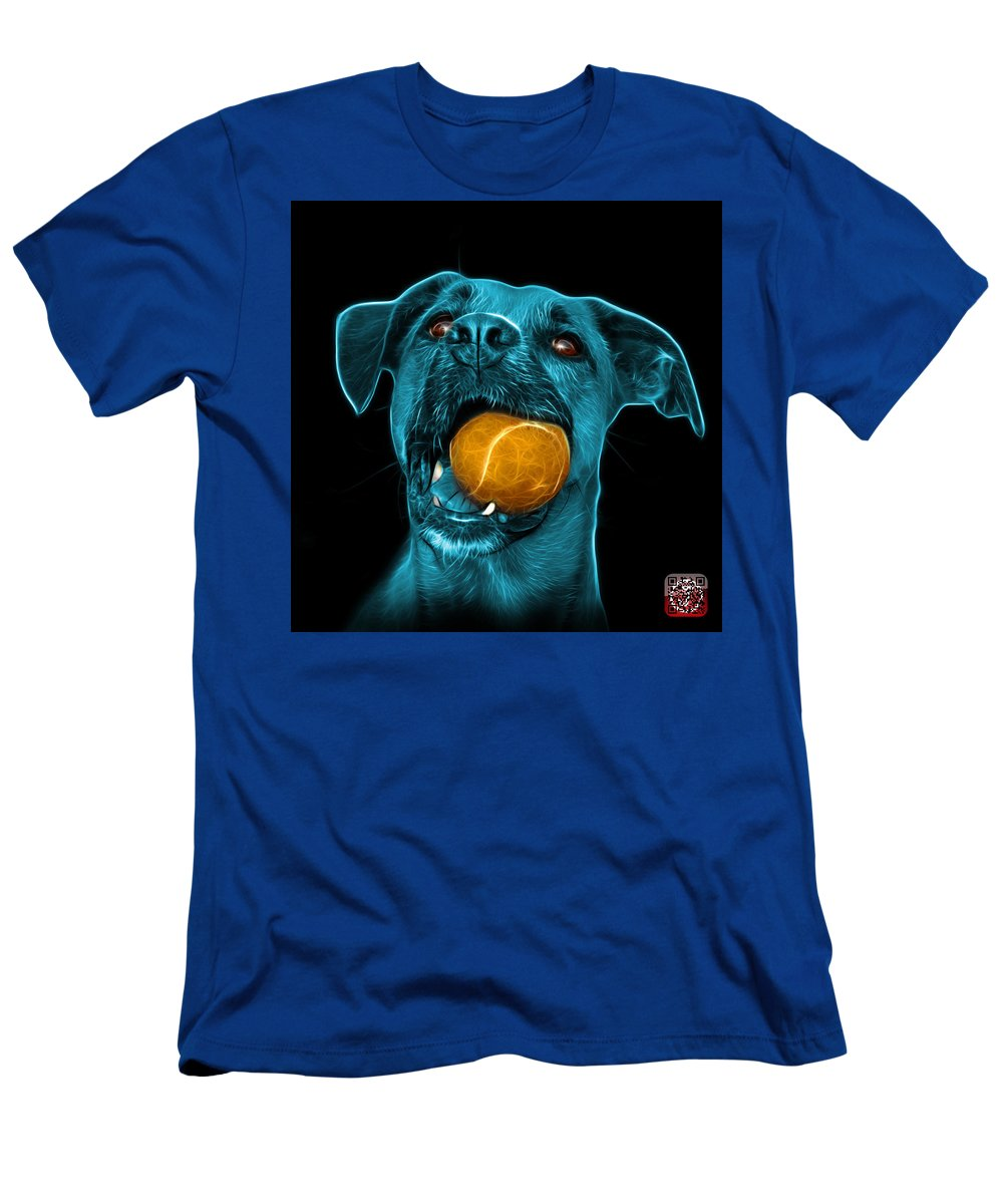 Dog Men's T-Shirt (Athletic Fit) featuring the digital art Cyan Boxer Mix Dog Art - 8173 - Bb by James Ahn