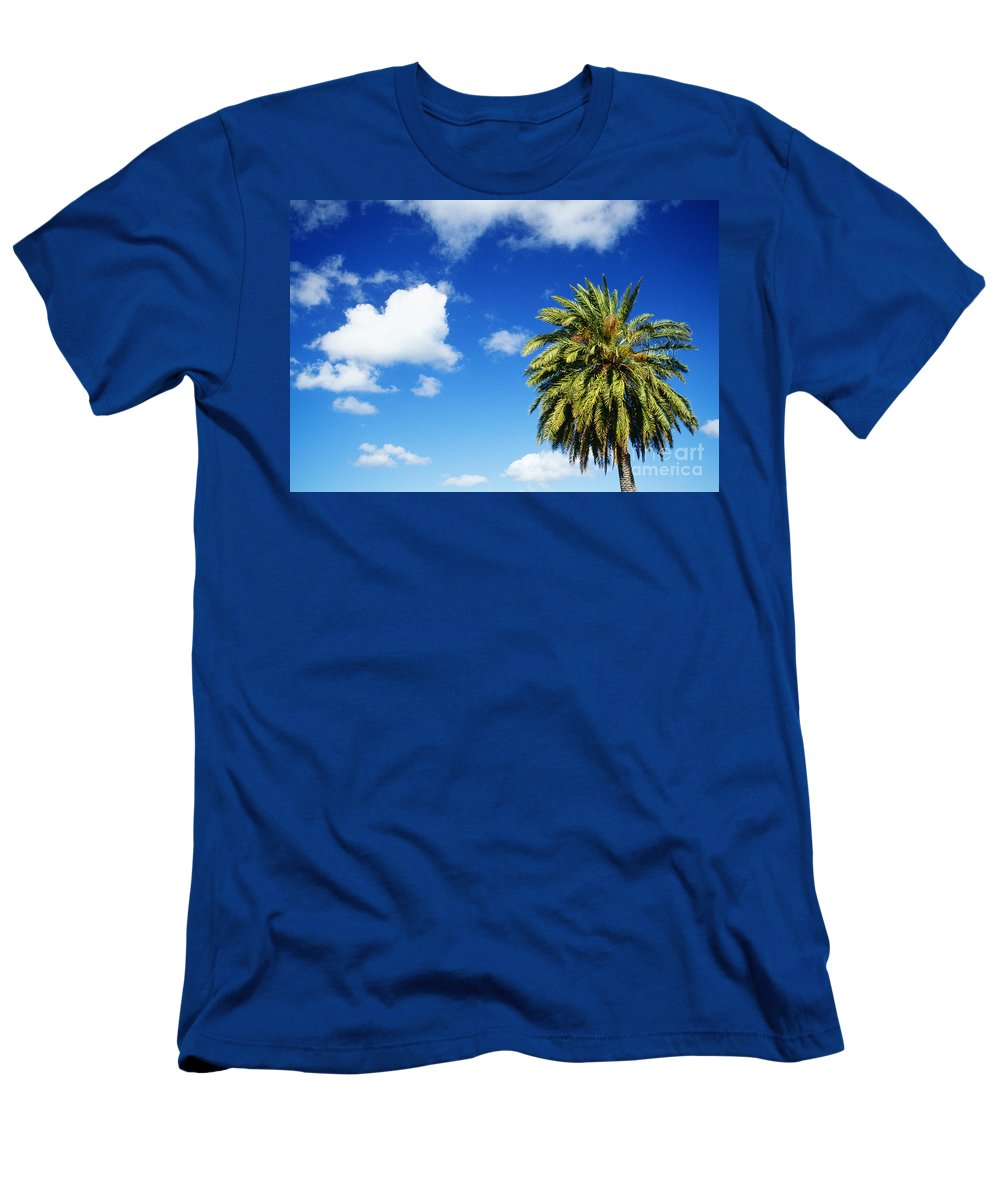Blue Men's T-Shirt (Athletic Fit) featuring the photograph Date Palm Treetop by Carl Shaneff - Printscapes