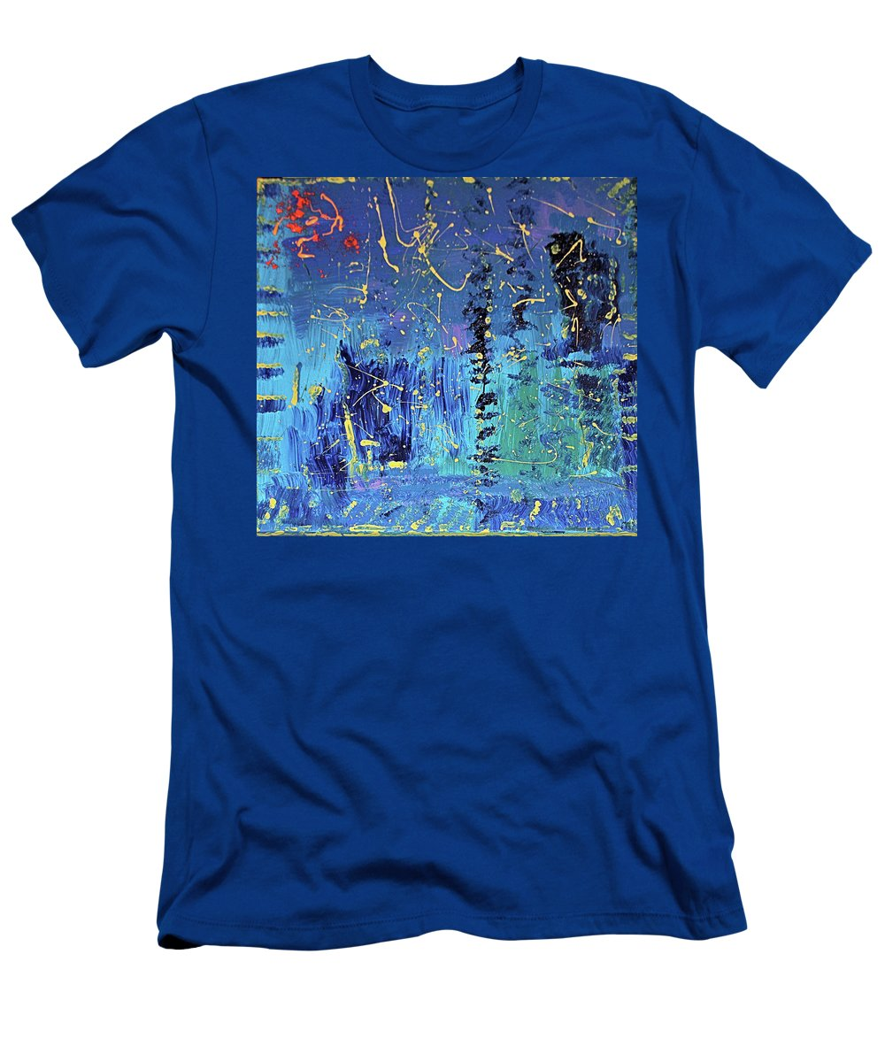 Blue T-Shirt featuring the painting Day Light Saving Time by Pam Roth O'Mara
