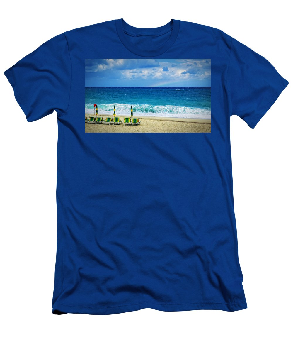 Deck Chairs Men's T-Shirt (Athletic Fit) featuring the photograph Deck Chairs And Distant Rainbow by Silvia Ganora