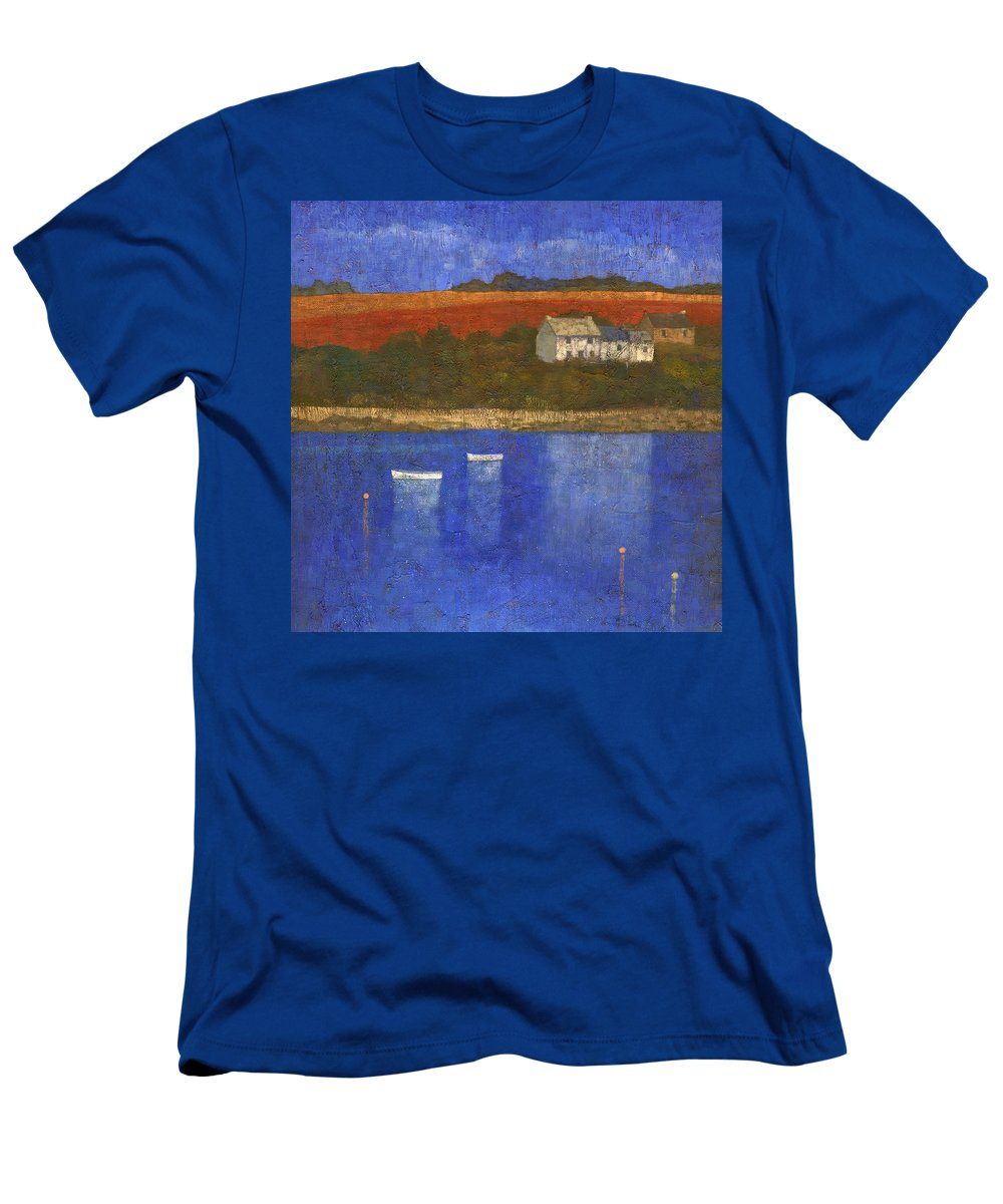 Boats Men's T-Shirt (Athletic Fit) featuring the painting Deep Blue by Steve Mitchell