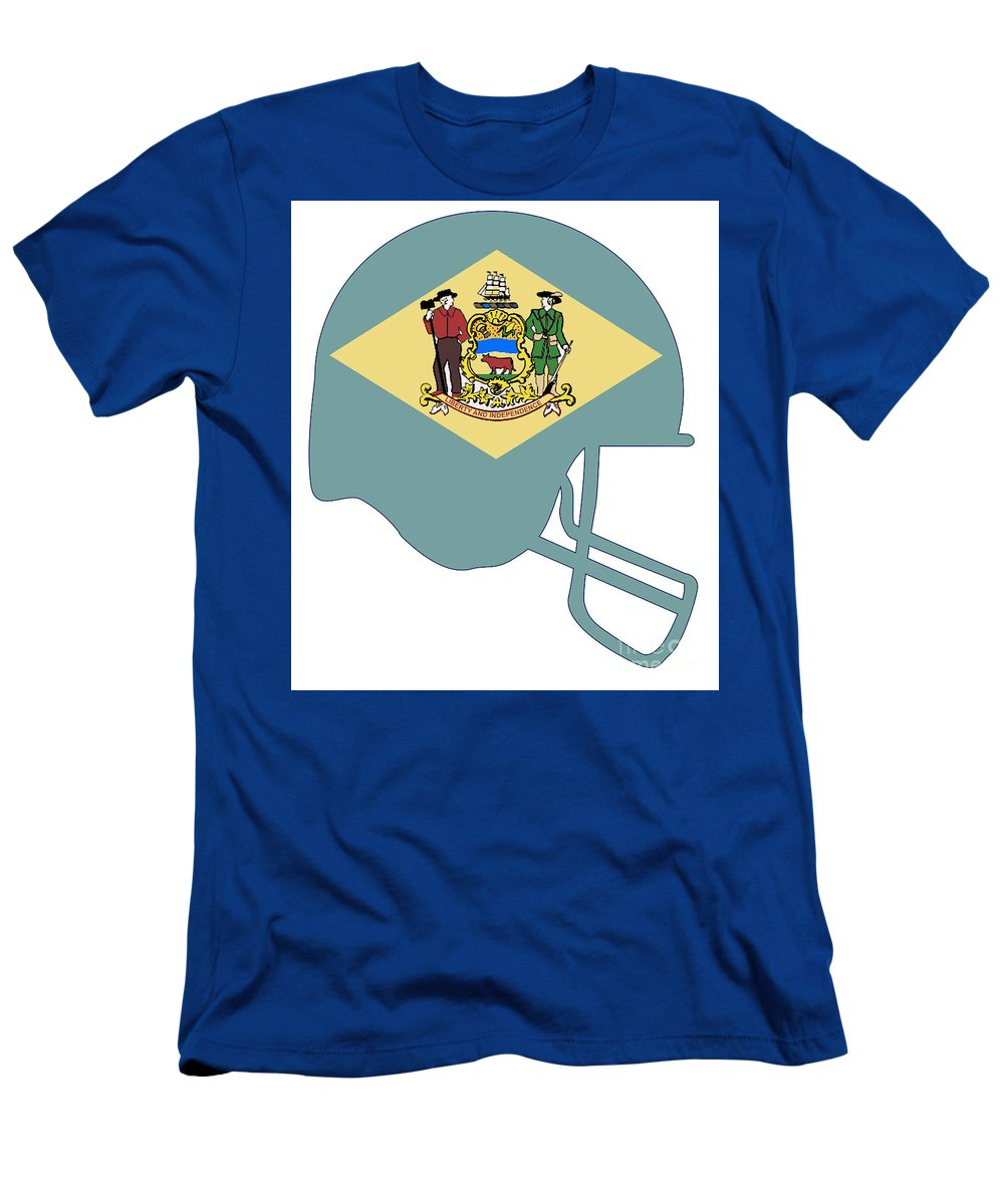 Delaware Men's T-Shirt (Athletic Fit) featuring the digital art Delaware State Flag Football Helmet by Bigalbaloo Stock