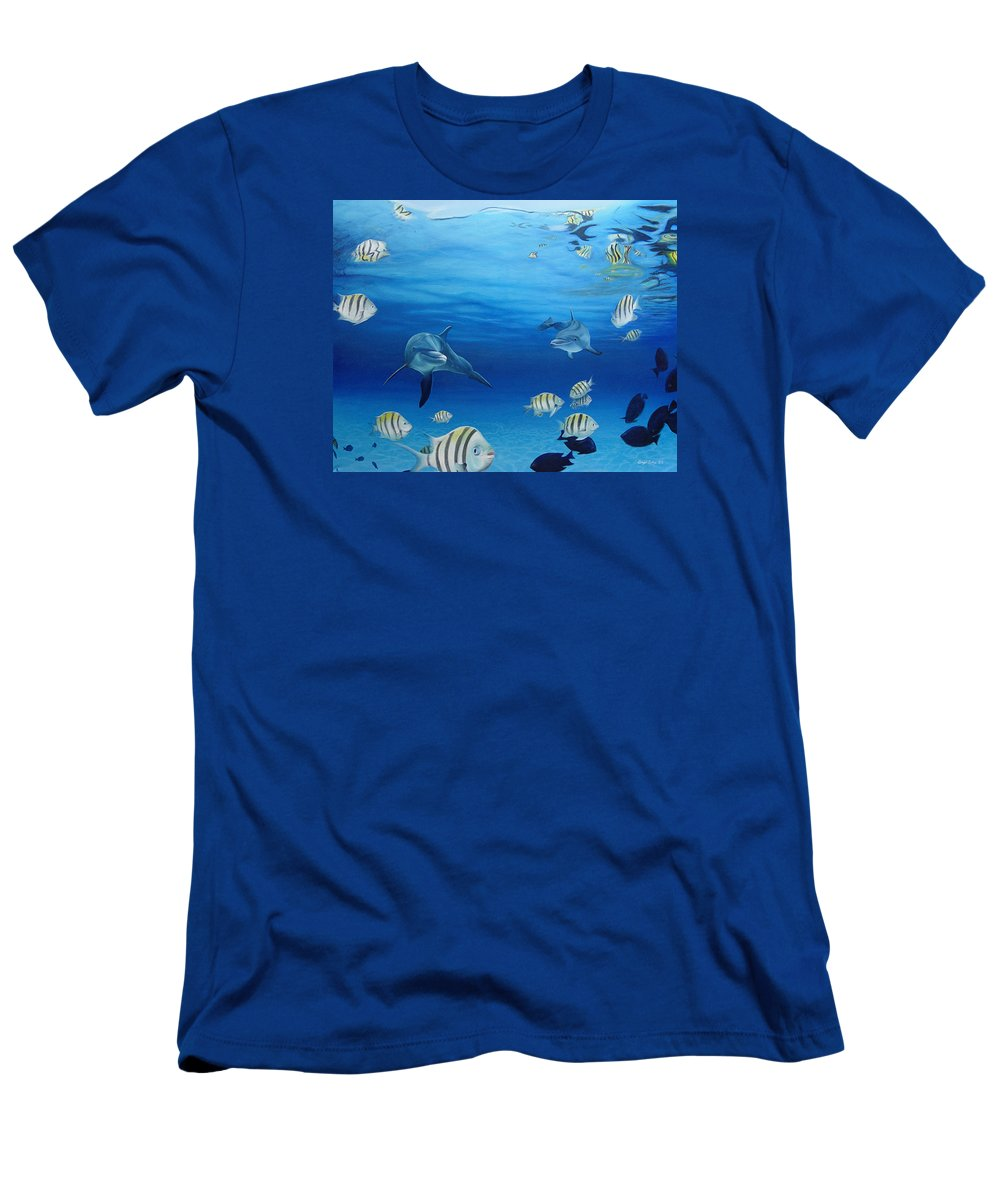 Seascape Men's T-Shirt (Athletic Fit) featuring the painting Delphinus by Angel Ortiz