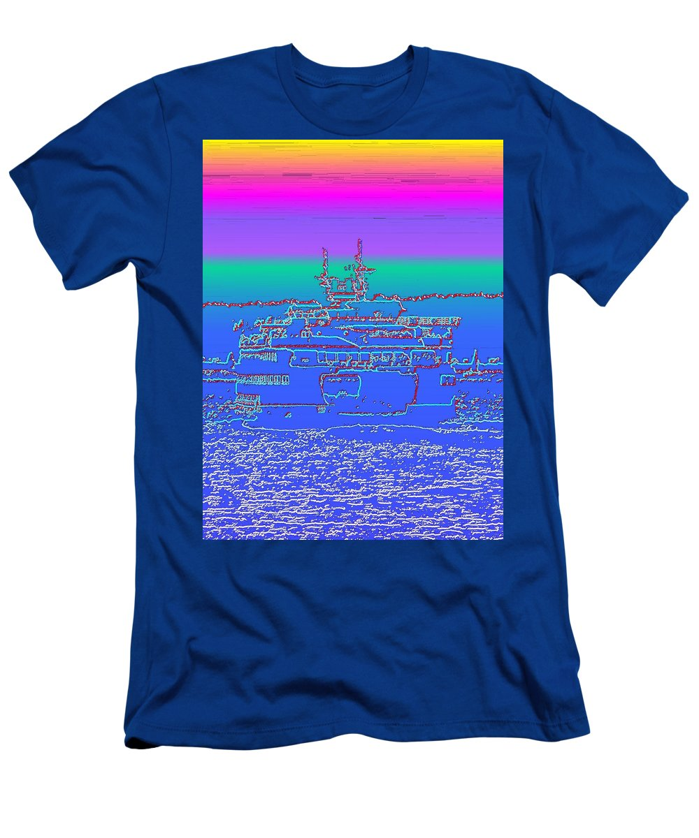 Digital Photo Manipulation Men's T-Shirt (Athletic Fit) featuring the photograph Departing Ferry by Tim Allen