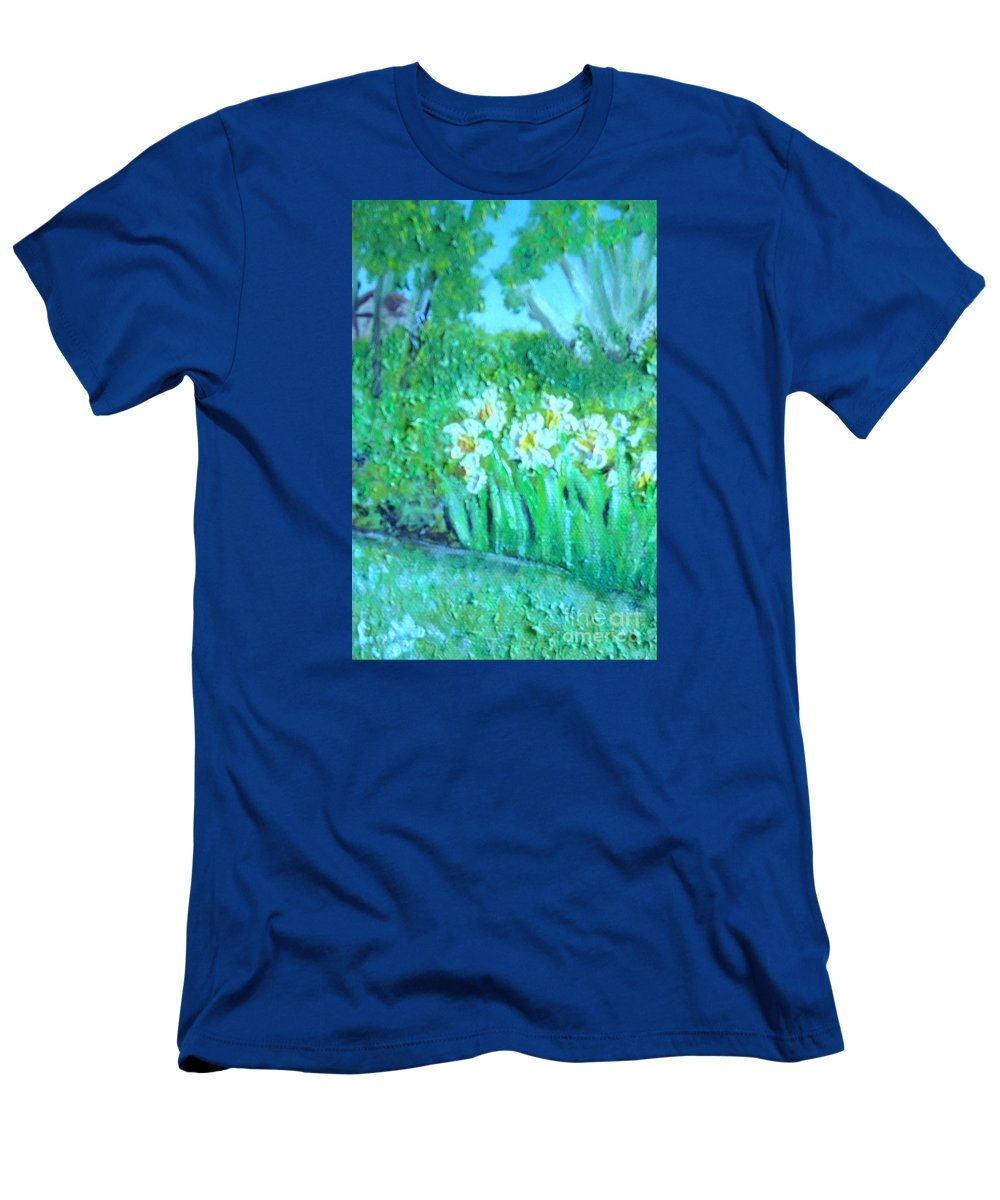 Daffodils T-Shirt featuring the painting Dependable Daffodils by Laurie Morgan