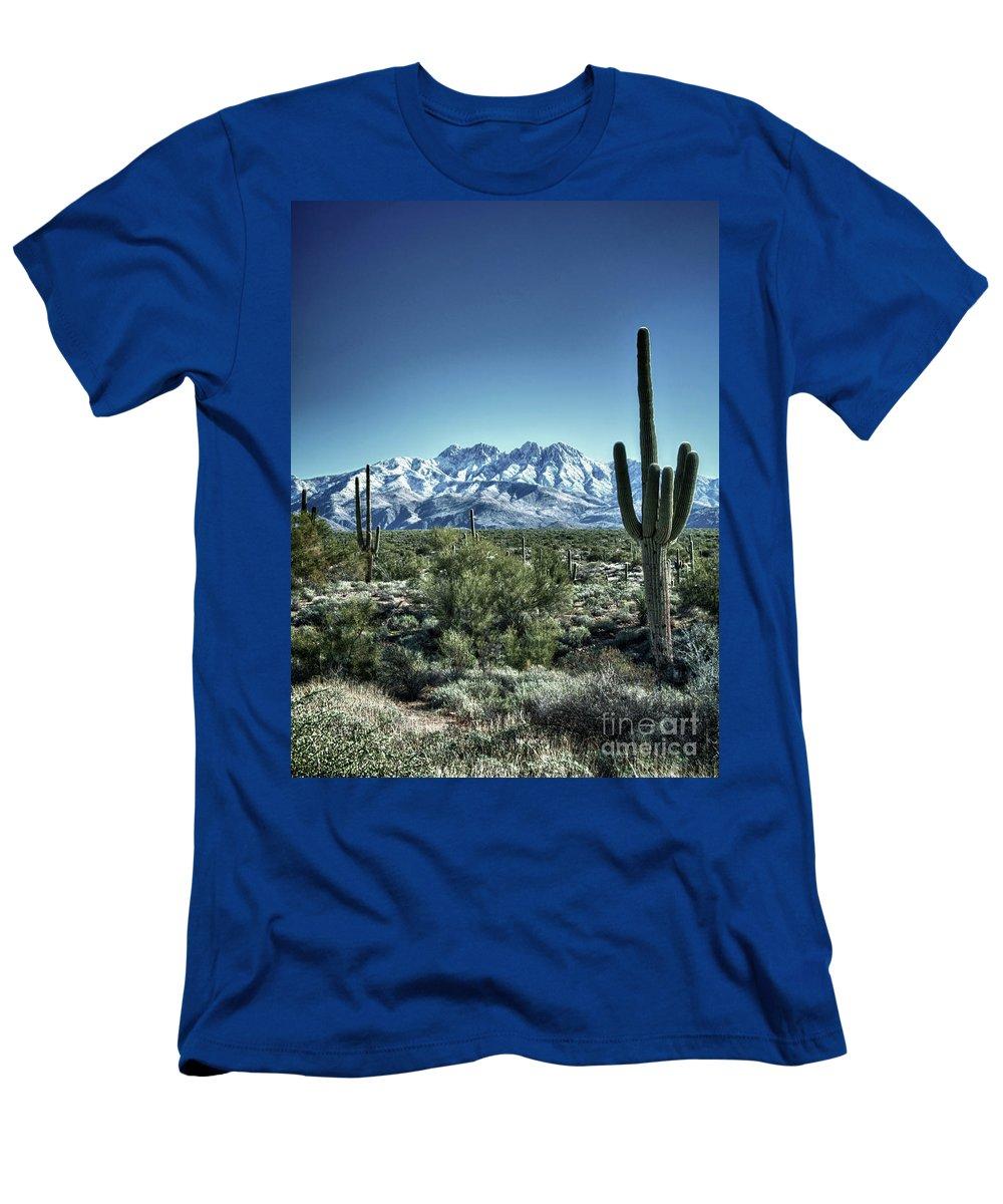 Arizona Men's T-Shirt (Athletic Fit) featuring the photograph Desert Snow by Saija Lehtonen