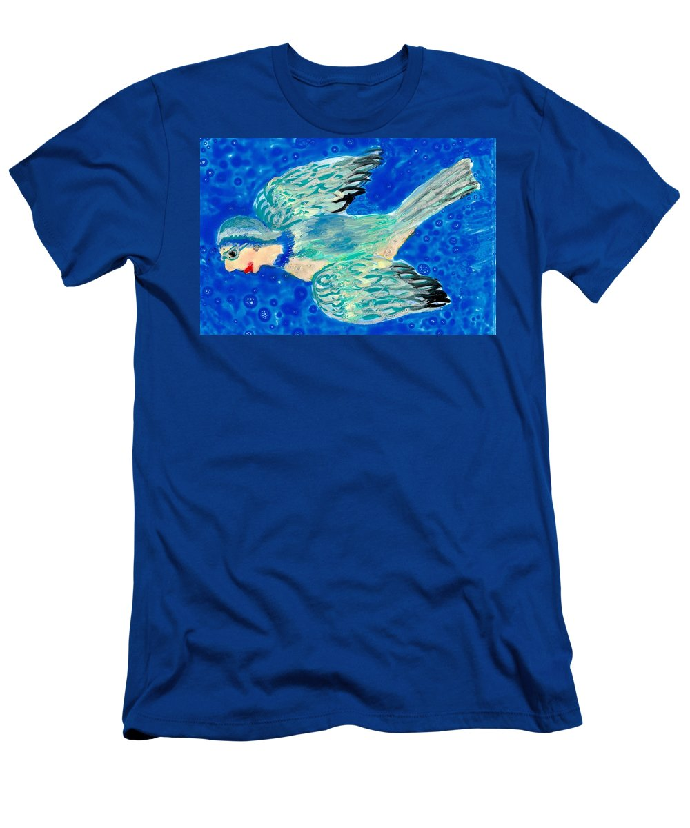 Bird People Men's T-Shirt (Athletic Fit) featuring the painting Detail Of Bird People Flying Bluetit Or Chickadee by Sushila Burgess
