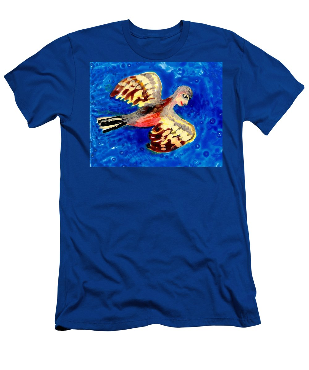 Sue Burgess Men's T-Shirt (Athletic Fit) featuring the painting Detail Of Bird People Flying Chaffinch by Sushila Burgess